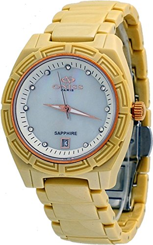Oniss #ON7702-LRG Women's Rose Trim Crystal Index MOP Dial Beige Ceramic Watch