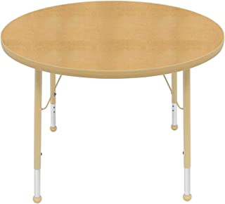 "product image for Creative Colors 36"" Round Table with Top Color: Maple, Edge Color: Tan, Leg Height: Standard 21""-30"", Glide Style: Ball"