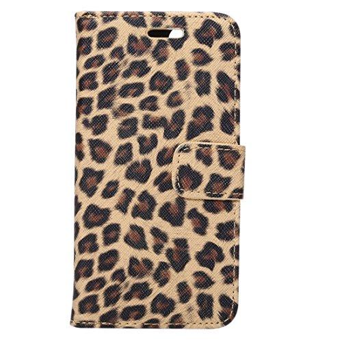 Protege tu iPhone, Para iPhone 7 Leopard patrón horizontal Flip caja de cuero con titular y ranuras de tarjetas y cartera, pequeña cantidad recomendada antes de lanzamiento de iPhone 7 Para el teléfon Marrón