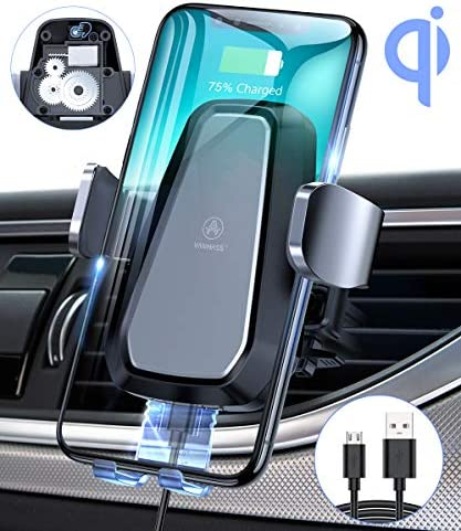 VANMASS Qi Wireless Car Charger Mount, Automatic Clamping, 10W Fast Charging, Air Vent Motorized Cell Phone Holder for Car Compatible with iPhone 11 Xs Max XR 8, Samsung S10 S9 Note 10, LG V30, etc