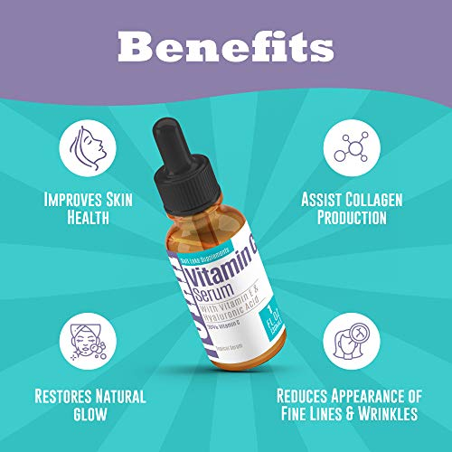 Vitamin C Serum For Face And Skin Rejuvenation With Hyaluronic Acid And Vitamin E Battles Signs Of Aging By Moisturizing & Boosting Antioxidant Levels For Wrinkle-Free & Younger Skin - 1 fl oz