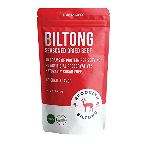 Brooklyn Biltong - Air Dried Grass Fed Beef Snack, South African Beef Jerky - Whole30 Approved, Paleo, Keto, Gluten Free, Sugar Free, Made in USA - 16 oz. Bag ()