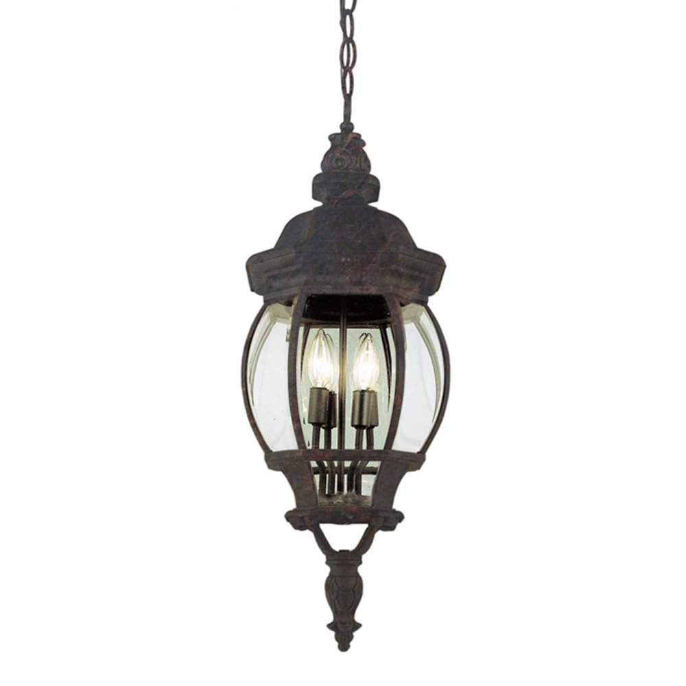 Black Copper Finished Transglobe Lighting 4067 BC Outdoor Hanging Pendant with Beveled Glass Shades