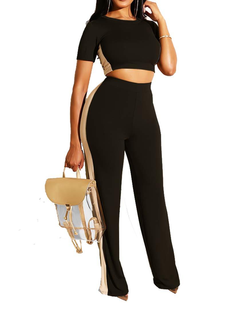 Women Two Piece Outfits - Casual Crop Top + Wide Leg Pants Outfits Sets Black M by Uni Clau