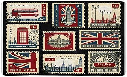 INTERESTPRINT Stamps with The Union Jack, Parliament, Big Ben and London Doormat Non Slip Indoor Outdoor Floor Door Mat Home Decor, Entrance Rug Rubber Backing Large 30 L x 18 W