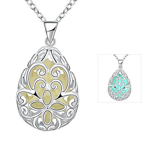 The November Nocturne Halloween Cyan Luminous Necklace Alloy Hollow Carved Flower Drop Silver (Carved Jade Brooch)