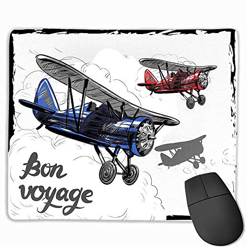 (Going Away Party Funny Mouse pad Retro Airplane Poster Inspired Bon Voyage Lets Travel Fly Vintage Print Custom Mouse pad 8.5