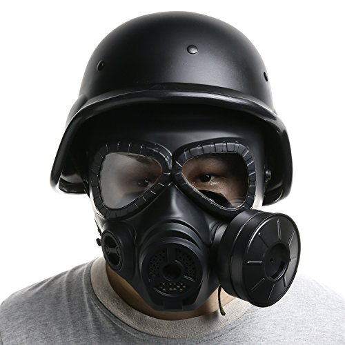 VILONG Airsoft Mask Outdoor Sports Tactical Paintball Mask Full Face Skull CS Mask and Modern Warrior Tactical M88 ABS Helmet (Black)