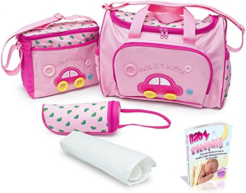 Sale! Pink Baby Diaper Bag, Large Diaper Bag with Small Travel Nappy Bag, Changing Pad & Baby Bottle Bag, Multi-Function Waterproof Tote Bag for Mom, A Perfect Baby Shower Gift. with eBook.