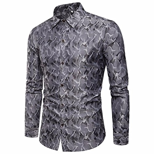 flage Design Silk Long Sleeve Shirt Stripe Long Sleeve Casual Button Shirts Formal Top Blouse (US-M/CN-L, Gray) ()