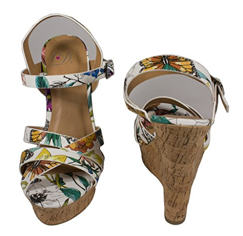 Sérum! Délicieuses Sandales Compensées À Lanières En Cuir Pour Femme