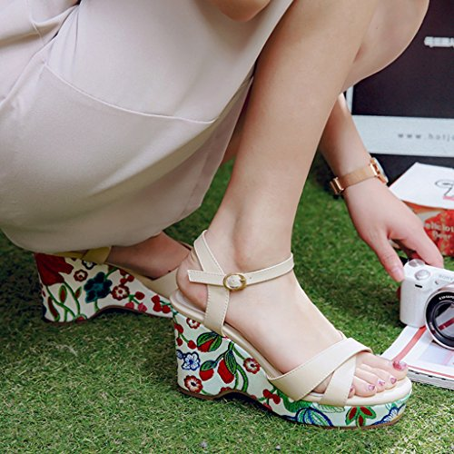 Female Sandals Shoes Slope Fashion Upper Beige Thick Women's Summer High Heels PU Sole Printing dCqwdr1