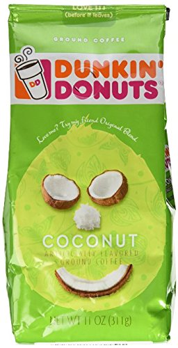 Dunkin' Donuts Coconut Flavored Ground Coffee, 11 Ounce Bag (Pack of 3)