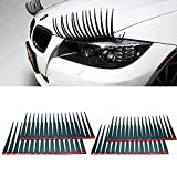 New Black Car Eyelashes Headlight Eyelashes 3D 3M Sticker for Hyundai Mercedez Ford One Pair 2 Pack