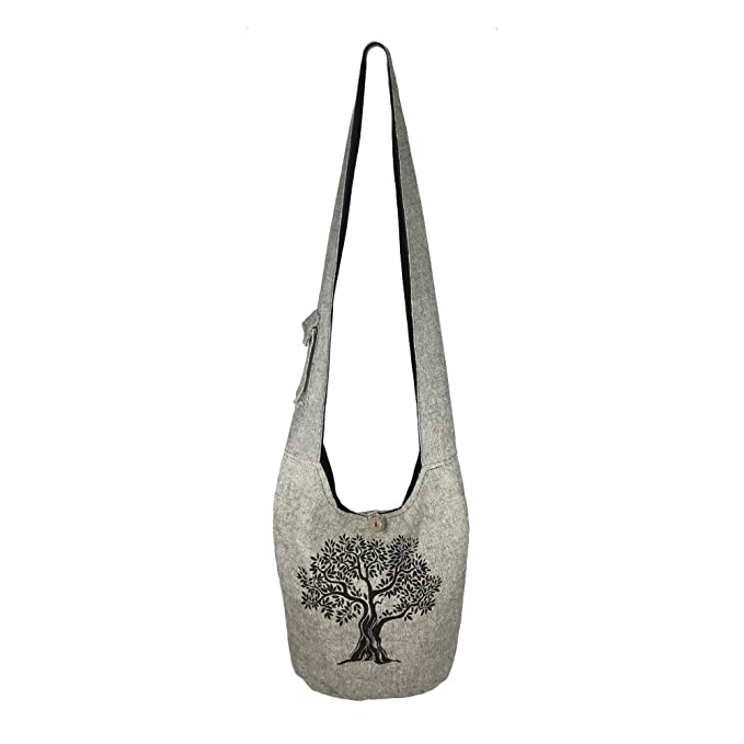 82ca7603e2b Amazon.com  Fair Trade Large Sling Crossbody Shoulder Bag Purse Hippie Hobo  Gypsy Bohemian (Grey Tree)  Clothing