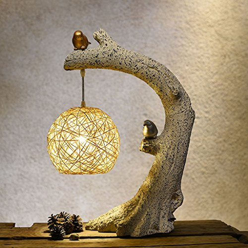 Vintage Weaving Rattan Table Lamp Countryside Style Resin Birds Bedroom Dining Table Decorative Table Lamps (Size : 5834cm)