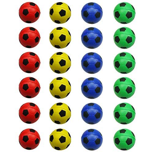 24 Counts Colorful Mini Soccer Football Stress Ball, Mixed Color Mini Foam Squeeze Sports Ball Toys for Kids Fun Party Favors Anxiety Relief by MOMOONNON]()
