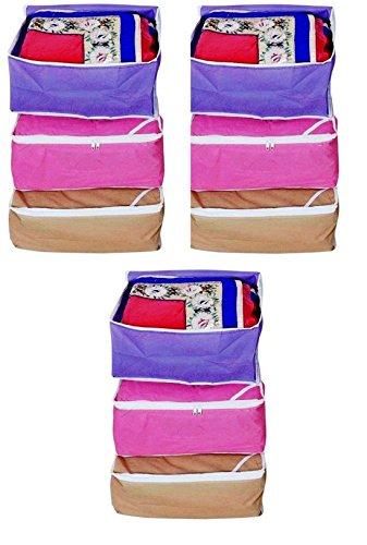 Fashion Bizz Non Woven Multi Saree Covers/Wardrob Organizer Set of 9 Pcs