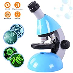 Elecfly Kid's Microscope -- Genuine Knowledge Comes From Practice  Features ● Ideal for Kid  ● 6 magnification ● 3 objectives & 2 eyepieces ● Explore nature ● 25pcs slides ● 8 diaphragm ● A whole set (50PCS) of kids microscope with operate instru...