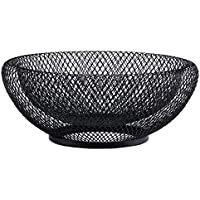Metal Wire Fruit Basket,Large Round Storage Baskets for Bread,Fruit,Snacks,Candy,Households Items.Fashion Fruit Bowl Decorate Living Room, Kitchen, Countertop,Black By Cq acrylic