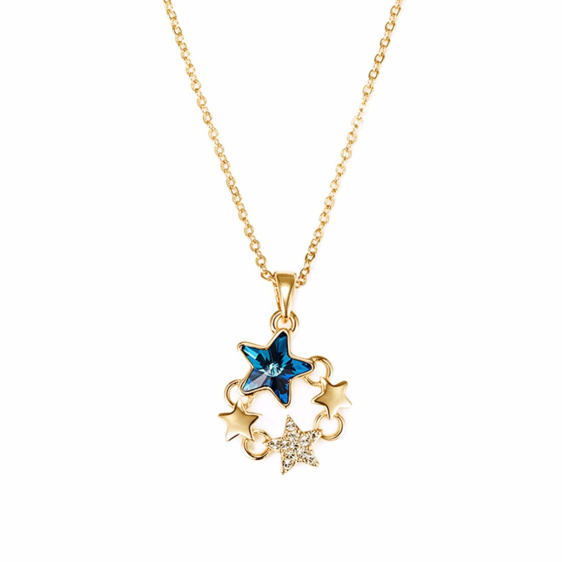 7677691e9 Buy NEVI Star Fashion Crystals from Swarovski Gold Plated Princess Pendant  Chain Jewellery for Women & Girls (Gold, Blue & Silver) Online at Low  Prices in ...