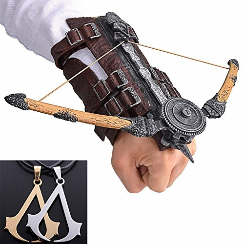 Assassin's Creed V Brown Arrow Hidden Blade Brotherhood Ezio Auditore Gauntlet Cosplay Replica Ubisoft Assassin's Creed Unity Wine + Assassin's Creed Necklace (with Silver&Gold necklace)