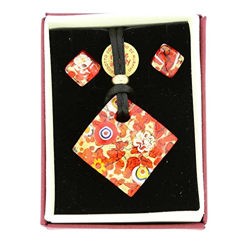 (GlassOfVenice Murano Glass Venetian Reflections Necklace and Earrings Set - Red Gold)