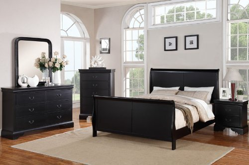 poundex louis phillipe bedroom set featuring french style sleigh platform bed and matching nightstand dresser mirror chest queen black