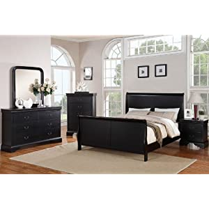 Poundex Louis Phillipe Bedroom Set Featuring French Style Sleigh Platform Bed and Matching Nightstand, Dresser, Mirror…