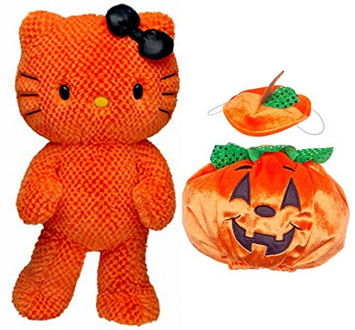 Build a Bear Hello Kitty Halloween Themed Orange Pumpkin Costume 18 in. Stuffed Plush Toy Animal -