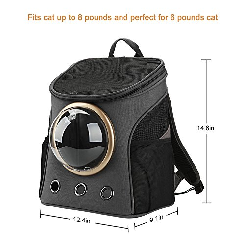 Texsens Canvas Transparent and Breathable Capsule Portable Pet Backpack for Spring Outing(Dark gray) by Texsens