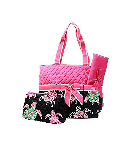 Hot Pink Black Diaper Bags - 1