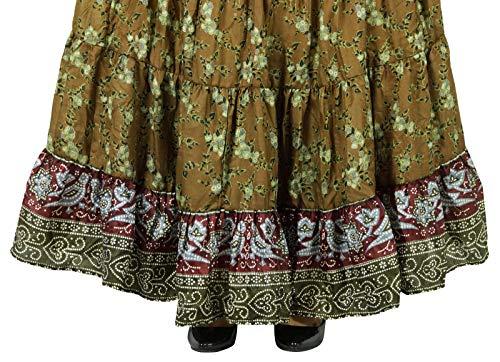 Green Brown Longue Soie Pure Évasée Femmes Jupe Saree amp; Craft Indianbeautifulart Robe w4qxZzPSaW