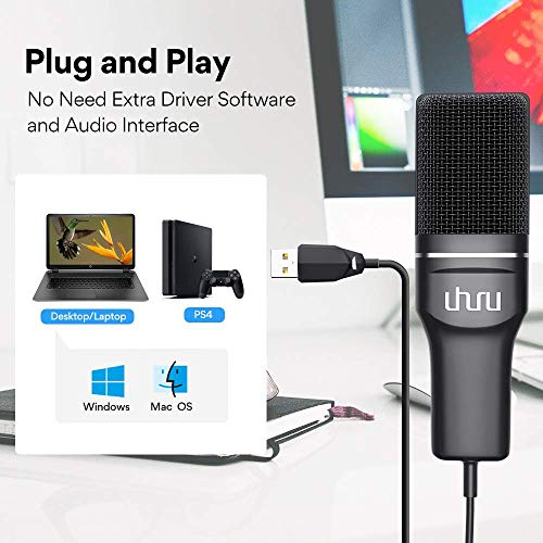 (Renewed) Uhuru UM-SF777 USB Condenser Gaming Microphone, Computer Mic Kit for Recording Podcasting with Tripod Stand and Pop Filter (Black)