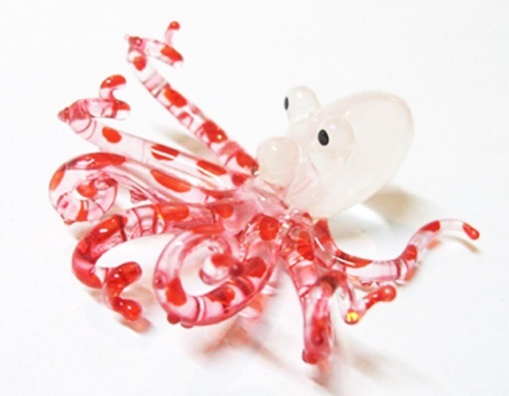 ランプワーク収集できるミニチュア手吹きアート ガラスの小さなタコ、赤の置物 B00J3XQLLW