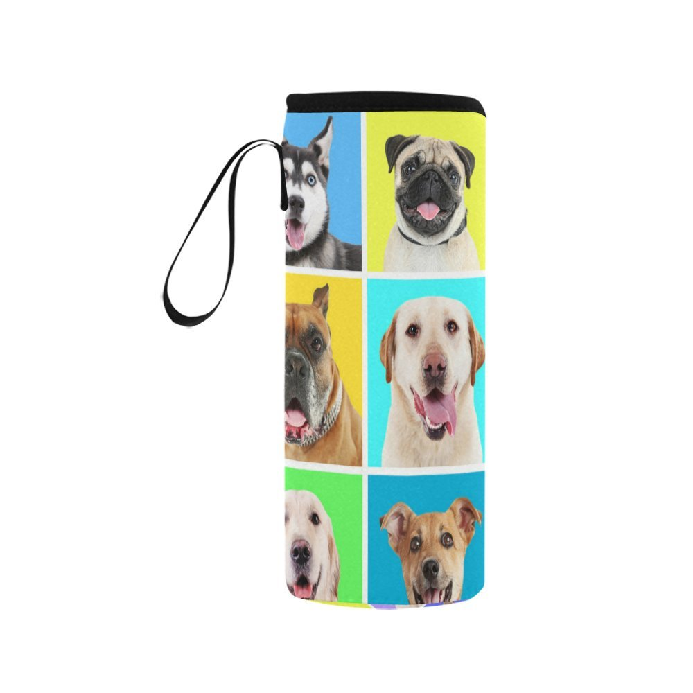InterestPrint Cute Dog Animals Pattern Neoprene Water Bottle Sleeve Insulated Holder Bag 16.90oz-21.12oz, Funny Pets Puppies Colorful Sport Outdoor Protable Cooler Carrier Case Pouch Cover with Handle