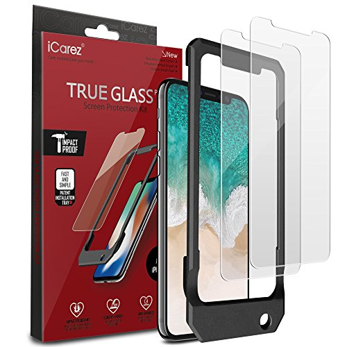 iCarez [Tempered Glass + Tray Installation] Screen Protector iPhone X iPhone Xs 5.8 Inch (Case Friendly) Easy Install [ 2-Pack 0.33MM 9H 2.5D]