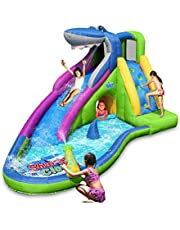 Action air Inflatable Waterslide, Shark Bounce House with Slide for Wet and Dry, Playground Sets for Backyards, Water Gun & Splash Pool, Durable Sewn with Extra Thick Material, Idea for Kids (9417N)