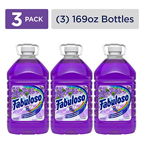 - FABULOSO All Purpose Cleaner, Lavender, Bathroom Cleaner, Toilet Cleaner, Floor Cleaner, Washing Machine and Dishwasher Surface Cleaner, Mop Cleanser, 169 Fluid Ounce (Pack of 3) (153122)