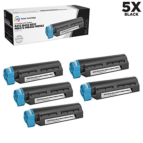 (LD Compatible Toner Cartridge Replacement for Okidata 45807101 (Black, 5-Pack))