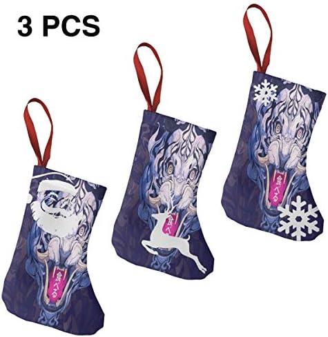 クリスマスの日の靴下 (ソックス3個)クリスマスデコレーションソックス 12世紀虎 クリスマス、ハロウィン 家庭用、ショッピングモール用、お祝いの雰囲気を加える 人気を高める、販売、プロモーション、年次式