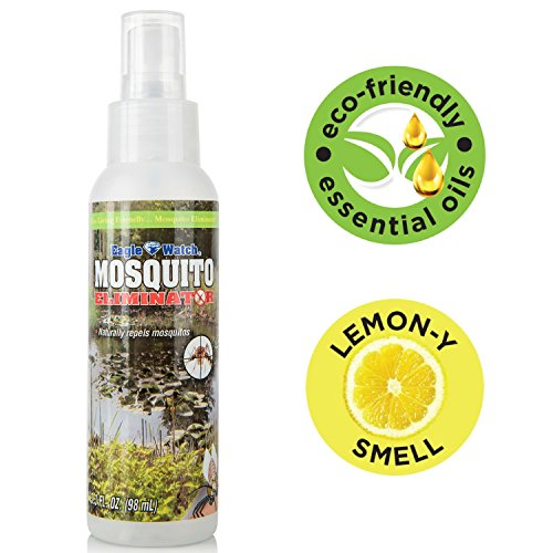 All Natural Mosquito Repellent - Non-Toxic Bug Spray - DEET Free, Lemongrass Essential Oils Formula - Great for Outdoors, Yard, Adults, Kids, Babies & Pets - Eagle Watch Mosquito Killer - Mosquito Repellent Herbal