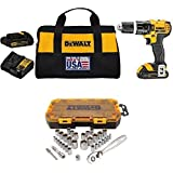 """DEWALT DCD785C2 20V MAX Lithium Ion Compact 1.5 Ah Hammer Drill/Driver Kit with  DWMT73804 Drive Socket Set (34 Piece), 1/4"""" and 3/8"""""""
