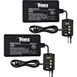 "iPower 2 Pack 4""X7"" Under Tank Heat Pad & Digital Thermostat Combo Set for Reptiles"