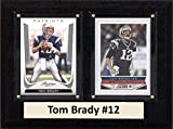"""C&I Collectables NFL New England Patriots Tom Brady Two Card Plaque, 6"""" x 8"""", Brown"""