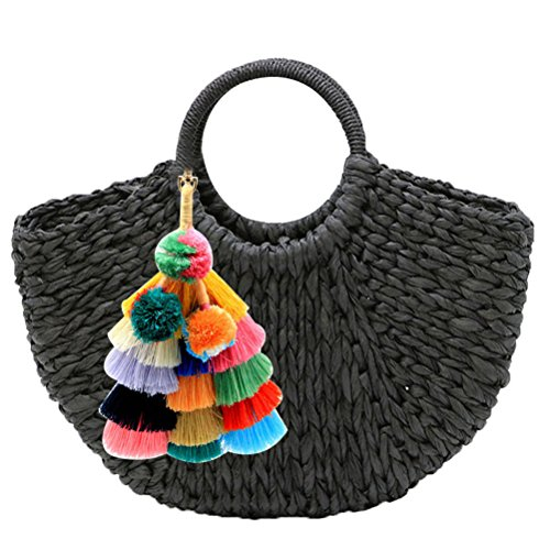 Abuyall Straw Handbag Handmade Large Tote Bag Round Handle Handbag Summer Bag (Tote Black Straw Handbags)