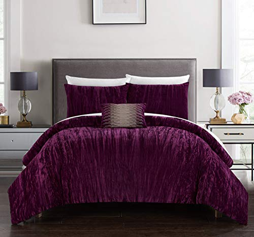 Chic Home Westmont 4 Piece Comforter Set Crinkle Crushed Velvet Bedding-Decorative Pillow Shams Included, Queen Plum ()