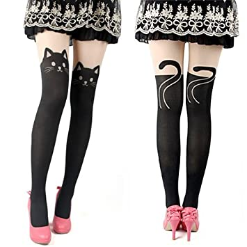 604b9075402f1 Image Unavailable. Image not available for. Color: Cute and Sexy Knee High  Socks Pantyhose Stockings Tattoo Tights (Black ...