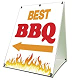 Best BBQ Sidewalk A Frame 18''x24'' Outdoor BBQ Retail Sign Consession