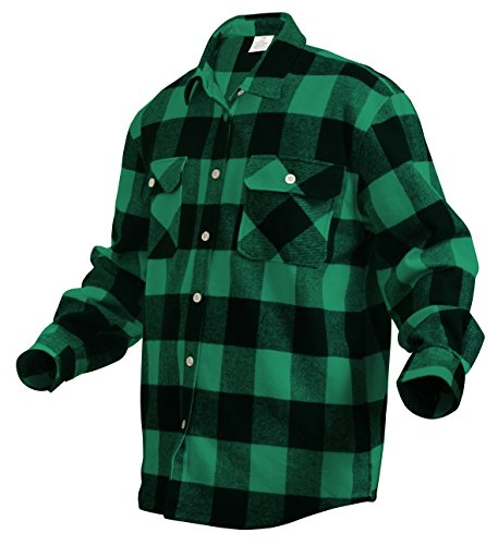 Green Extra Heavyweight Brawny Buffalo Plaid Flannel Shirt, Size -